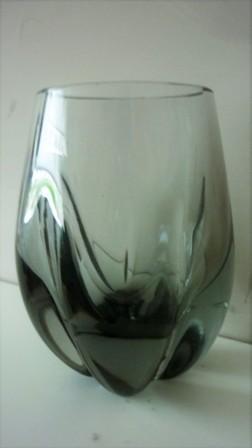 """Whitefriars Pattern 9392 Geoffrey Baxter Ocean Green  Swollen cylinder lobed Vase  h3¾"""""""