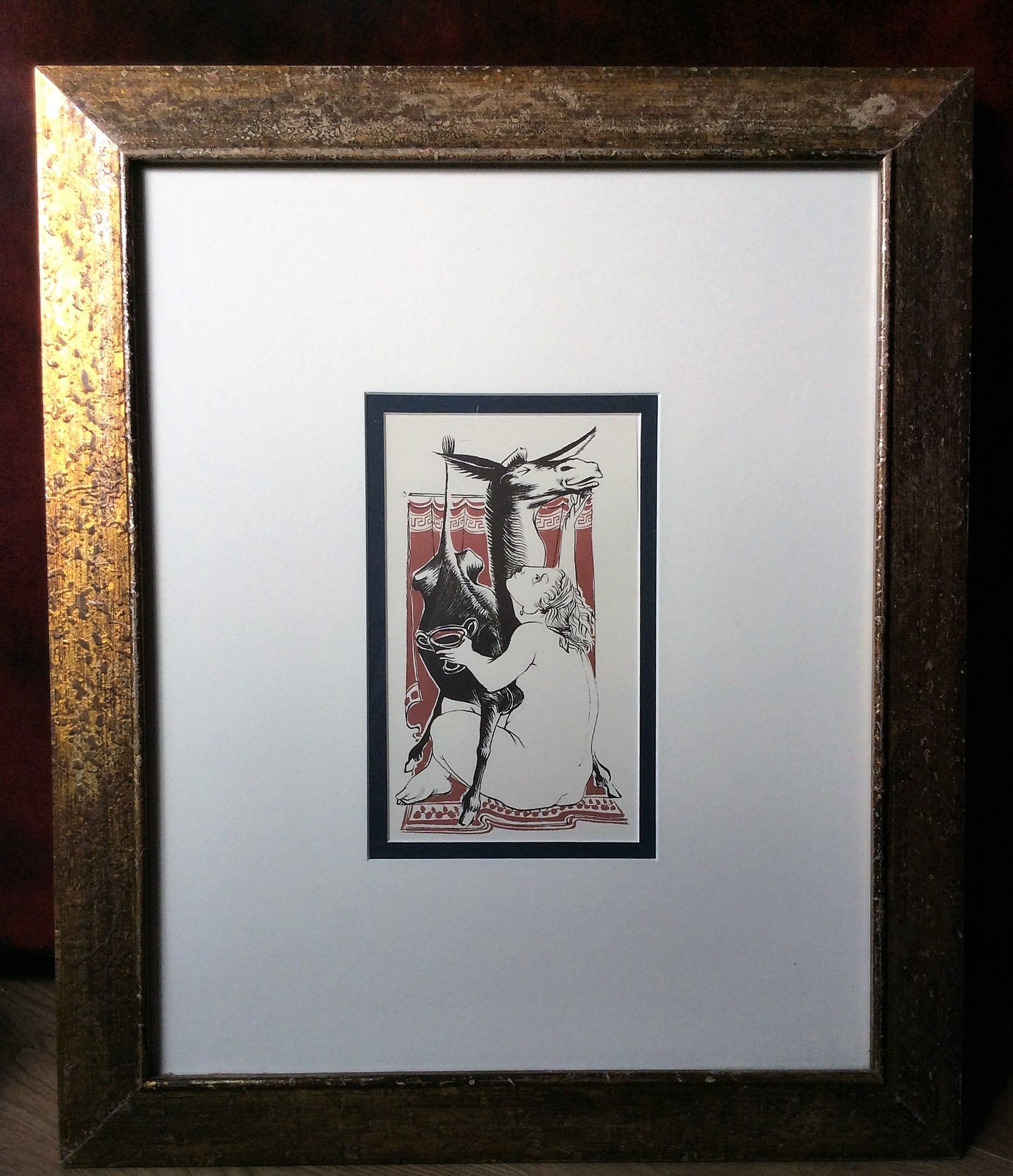 FINE CONDITION VINTAGE MICHAEL AYRTON FRAMED COLOURED LITHOGRAPH