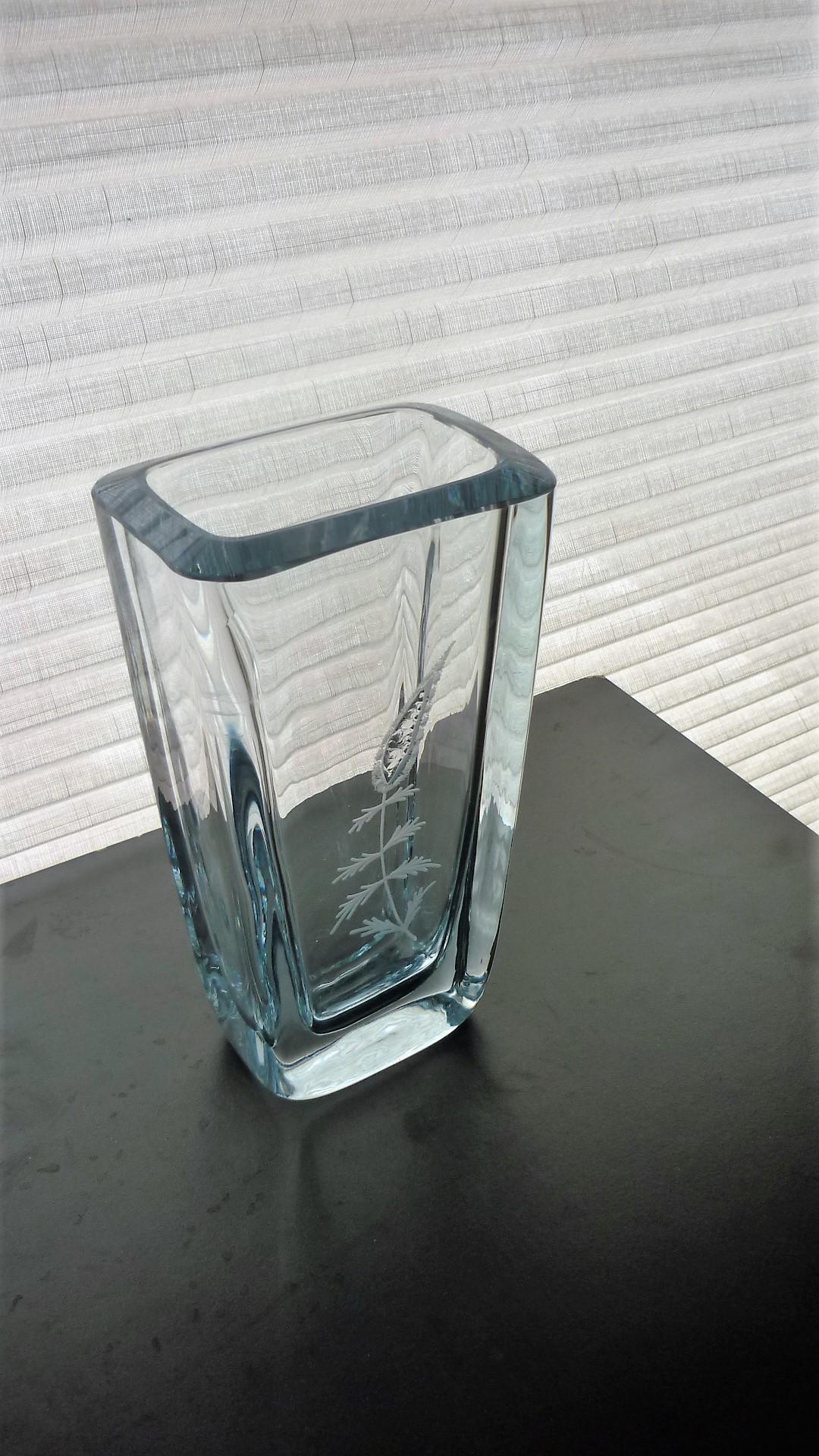 Vintage Stromberghyttan Swedish Crystal Glass Vase