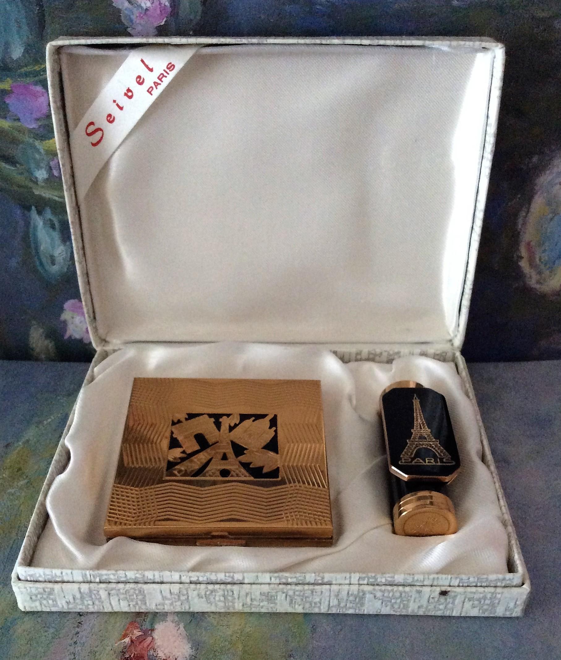 Rare Seivel PARIS Powder and Lipstick Compact Boxed Set
