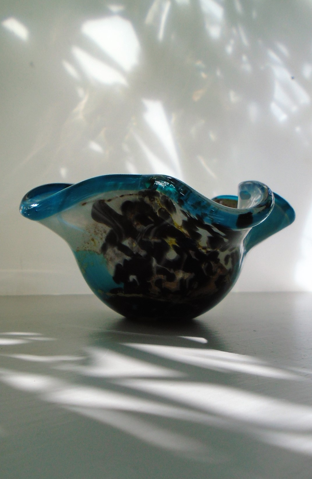 """Pretty Mdina Dish with pulled rim and I think in the """"Sea and Sand"""" pattern."""