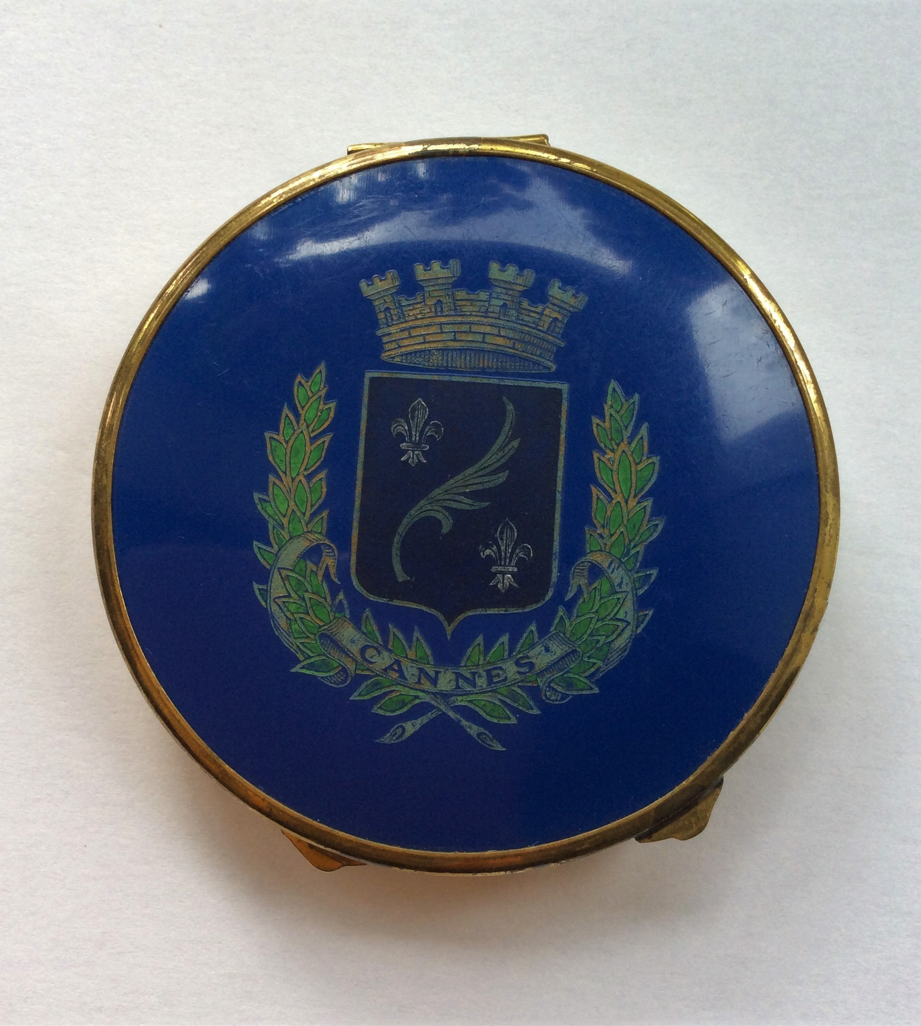 Rare Vintage c.50s French Cannes Coat of Arms Powder Compact