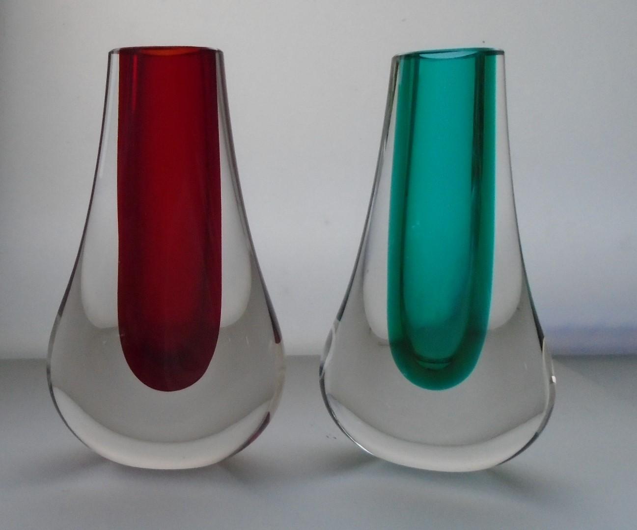 Pair of 70s vintage  Whitefriars Hambone Vases  Pattern number 9572