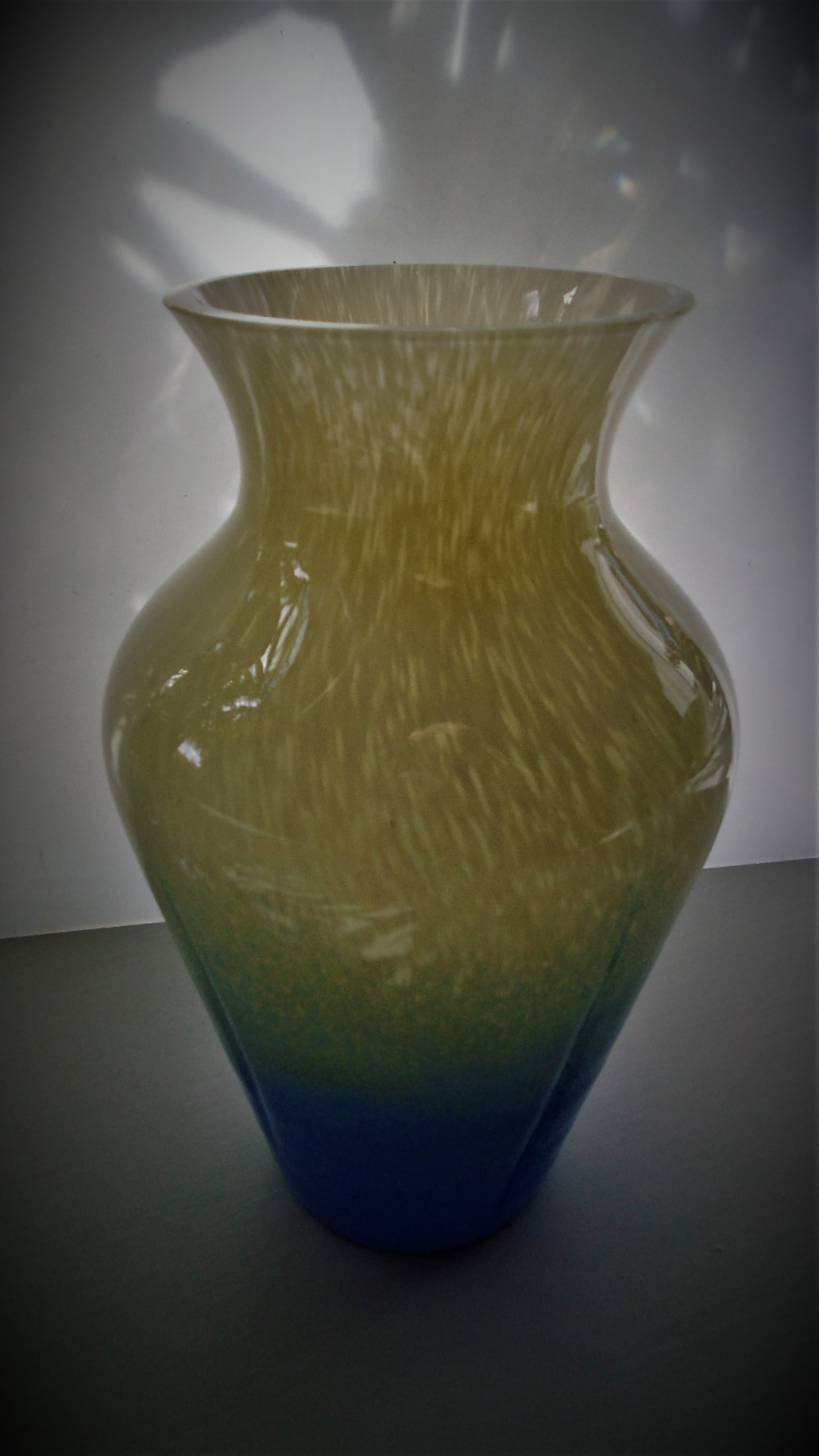 Attractive creamy yellow and blue Caithness Vase I