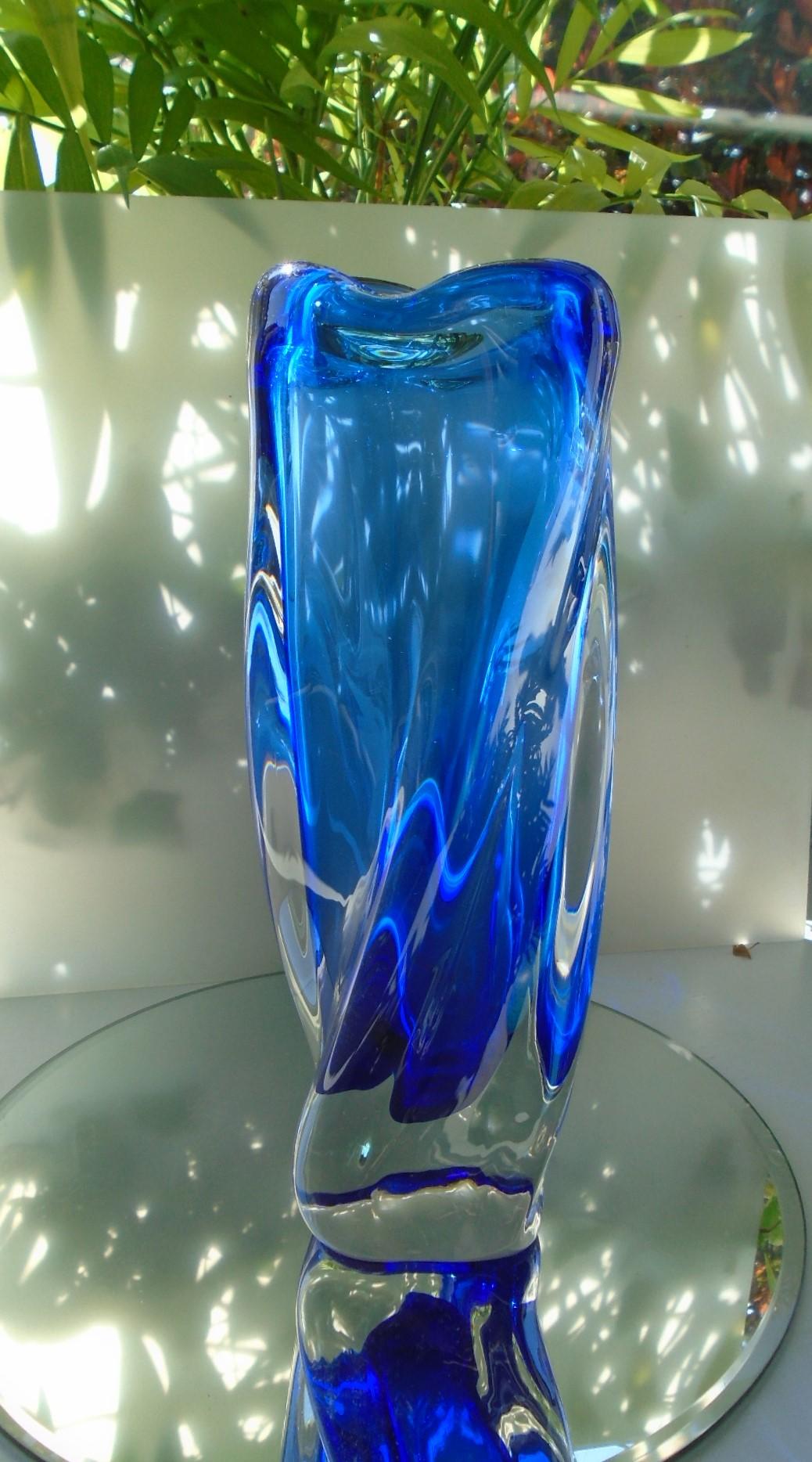 Stunning Vintage Czech Glass Vase from maker Chribska designed form them by Joseph Hospodska