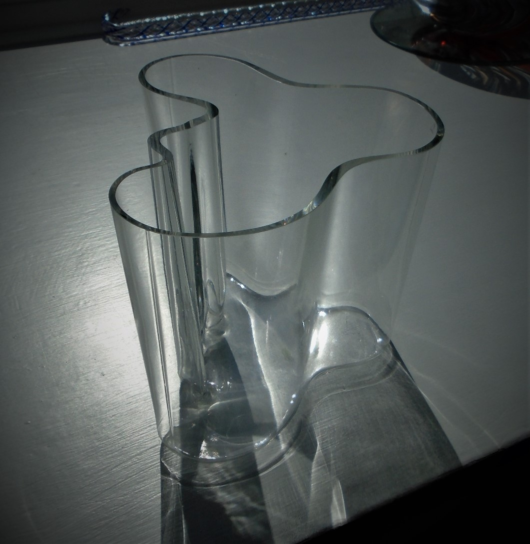 Signed Alvar Aalto Iittala Savoy Bowl in Clear   Offered for sale is