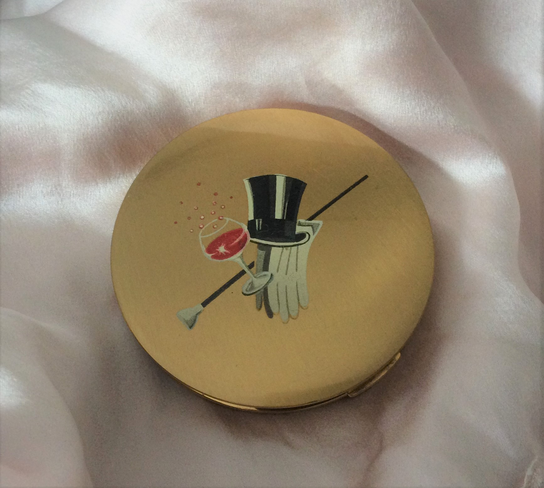 Vintage 50s Stratton Tophat, Cocktail, Gloves and Cane Novelty Powder Compact