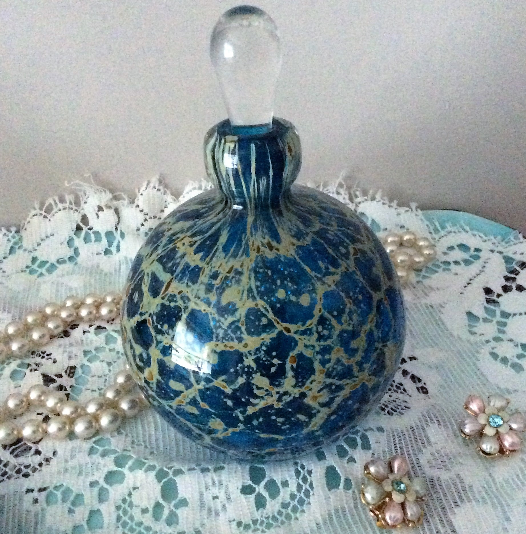 Stunning Vintage Mdina Glass Perfume bottle Height 14cm