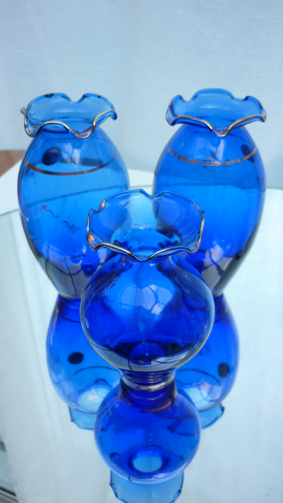 3  Made in Italy Cobalt Blue Cristal Vases