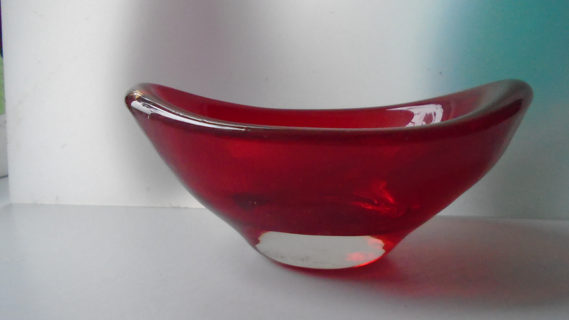 Whitefriars Ruby  Glass Bowl designed by Geoffrey Baxter Pattern No 9515