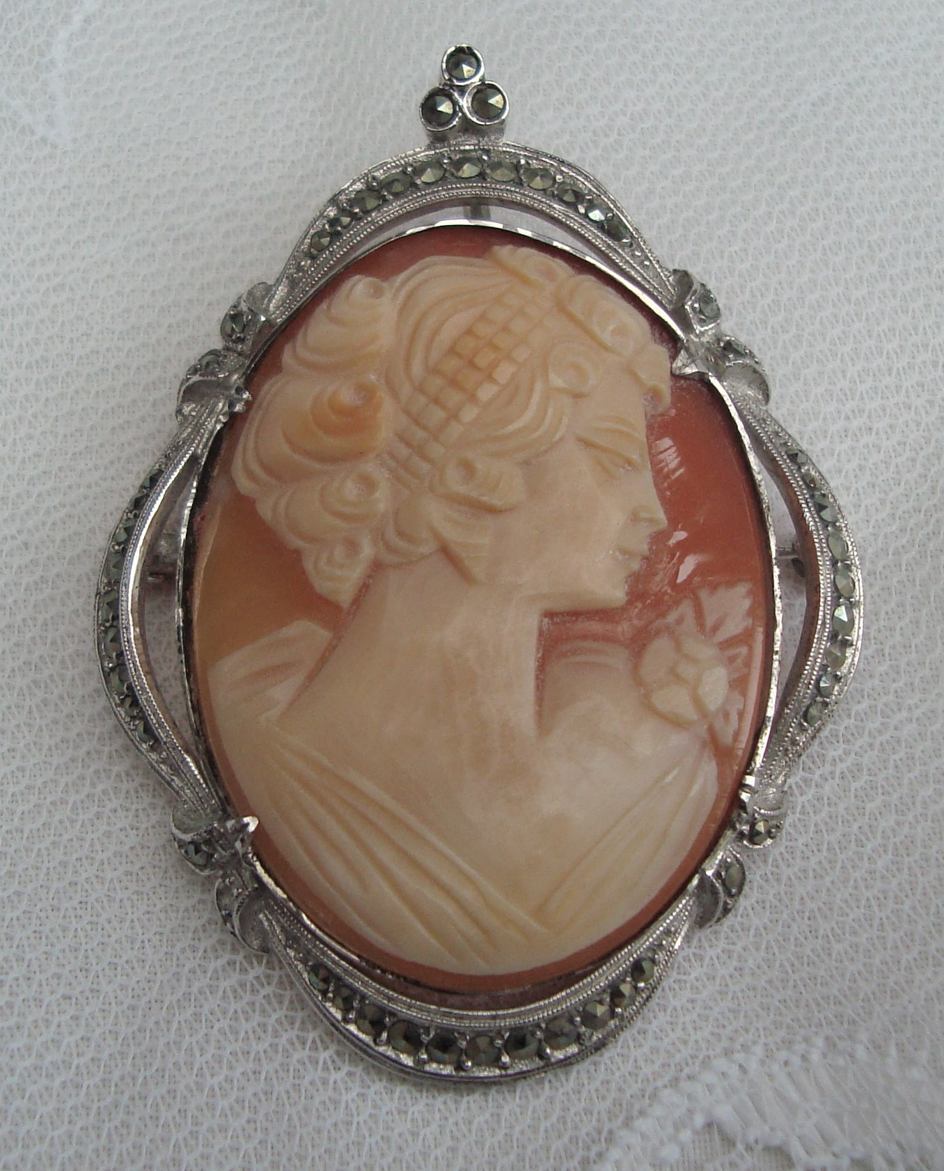 Beautiful Large Vintage Silver and Marcasite Cameo Brooch
