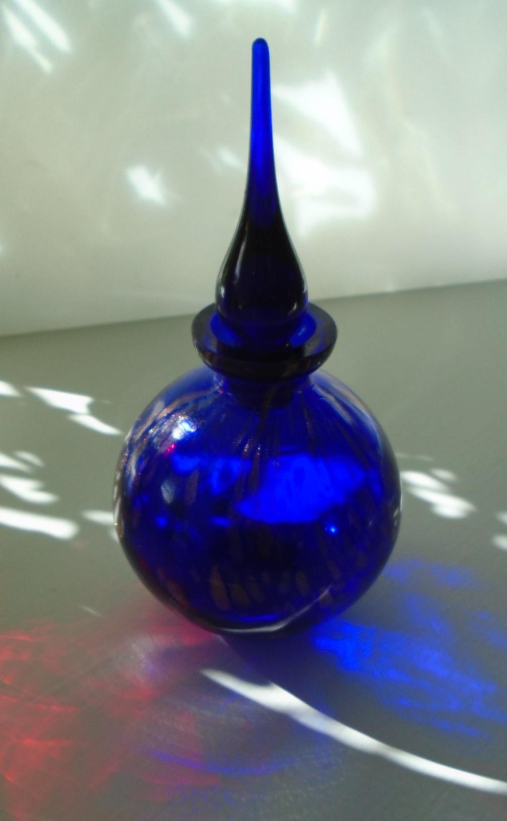 Murano Glass Cobalt Blue Perfume Bottle with Copper Aventurine decoration.