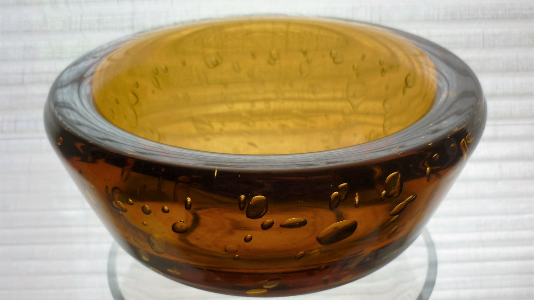 Very Heavy 1950s William Wilson Whitefriars  amber controlled bubble glass bowl.