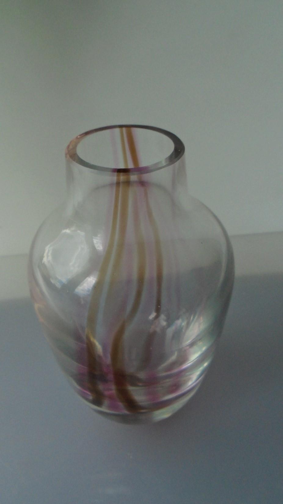 Vintage 80s Colin Terris Caithness Glass Vase.
