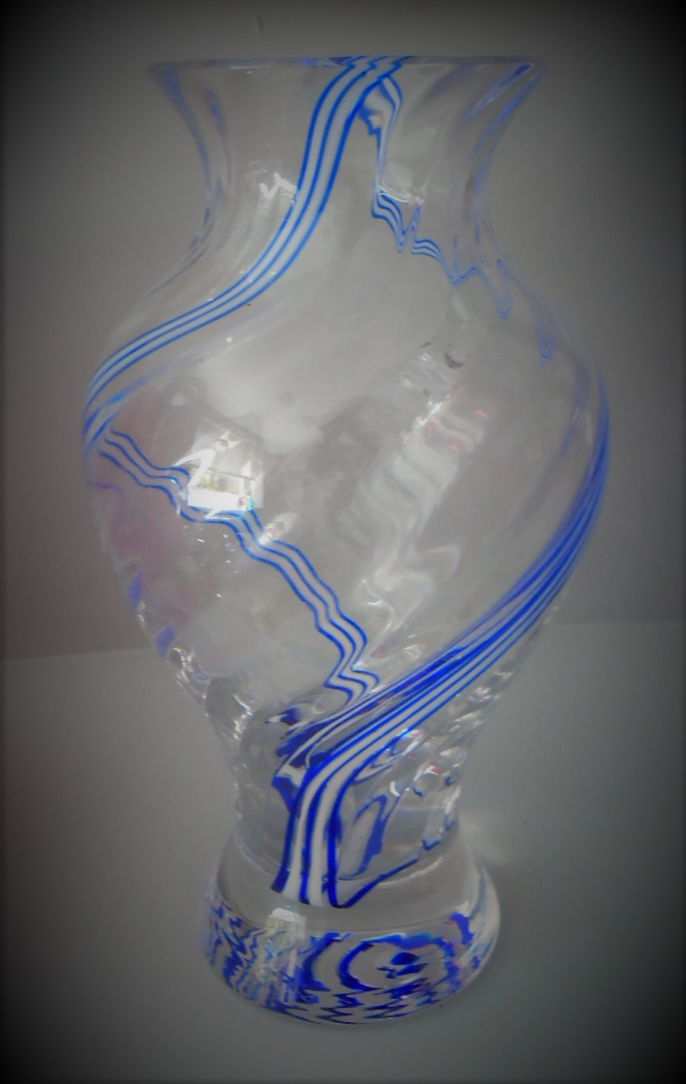 Large 80s vintage Colin Terris Caithness Flamenco Style baluster crystal glass vase with blue and white spiral decoration