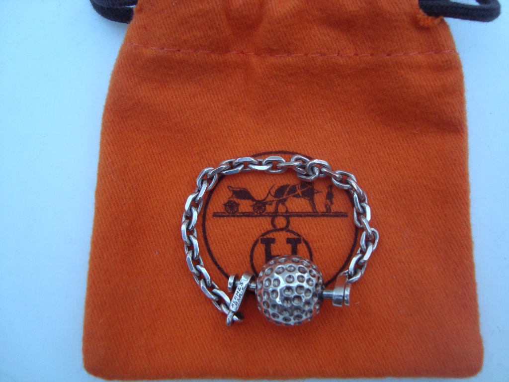 HERMES Silver Golf Ball Key Ring