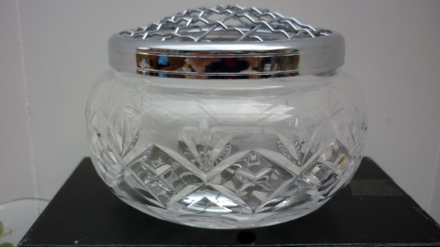 Royal Doulton crystal bowl with silver tone frog insert