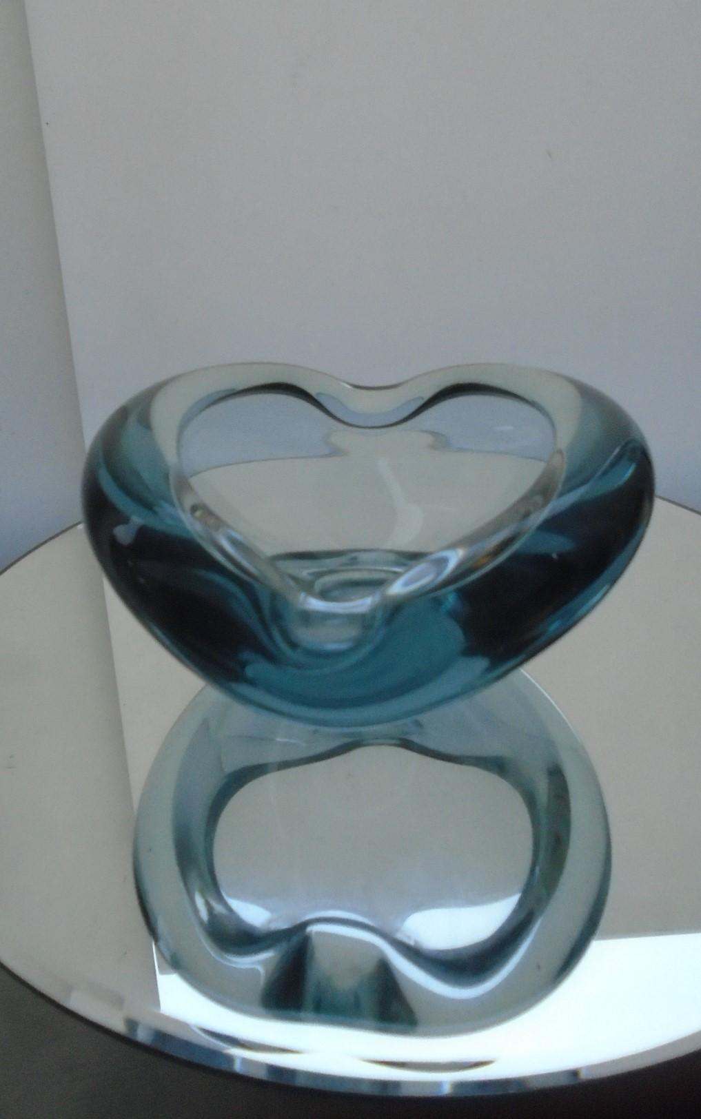 Signed Vintage 58 Danish HOLMEGAARD Per Lutken bowl in aqua.