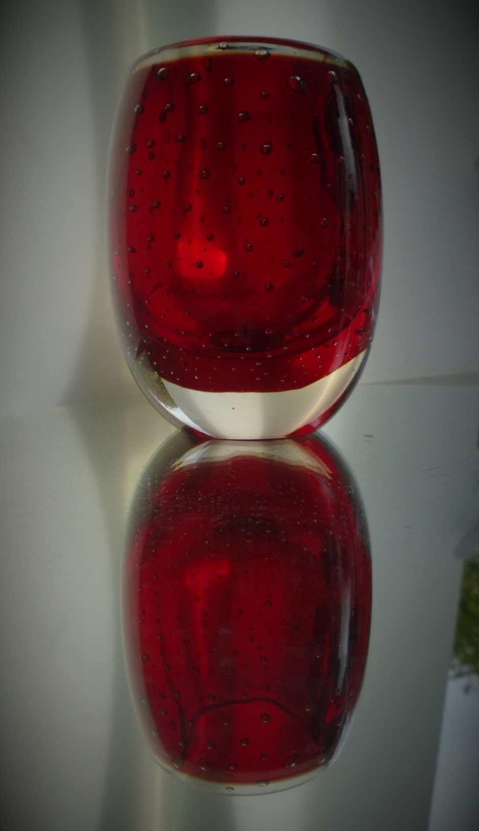 Small Whitefriars Controlled Bubble Ovoid Vase in Ruby Catalogue No. 9506.
