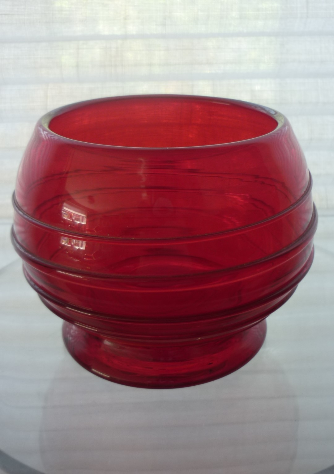 Whitefriars Ruby Ovoid footed bowl with ribbon trail.