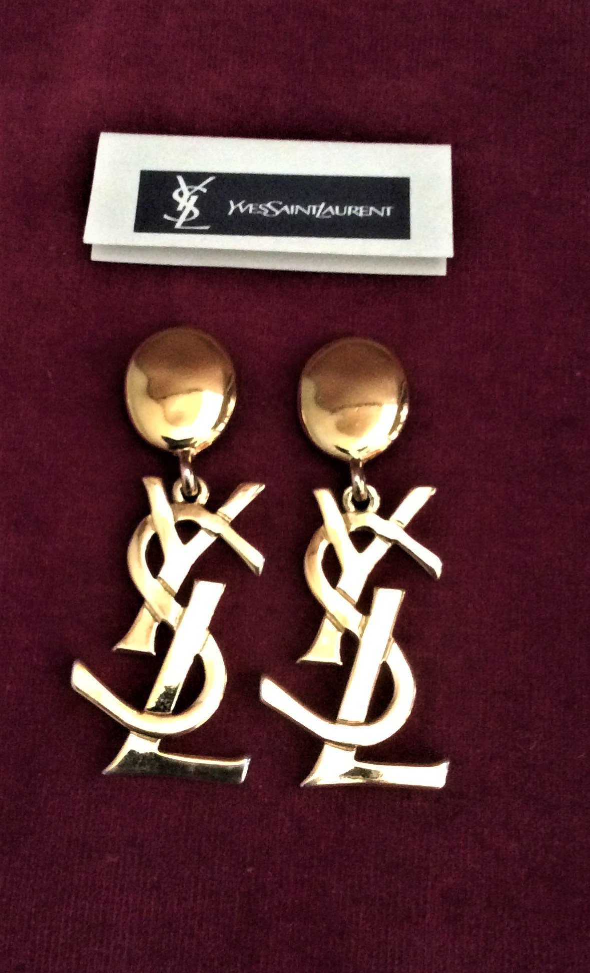 VINTAGE AUTHENTIC DESIGNER YVES SAINT  LAURENT ICONIC DROP CLIP EARRINGS