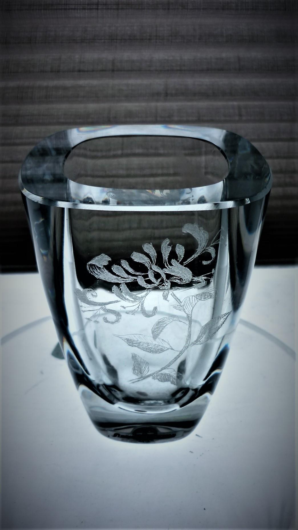 Swedish Strombergshyttan Glass vase with etched Honeysuckle Flower decoration