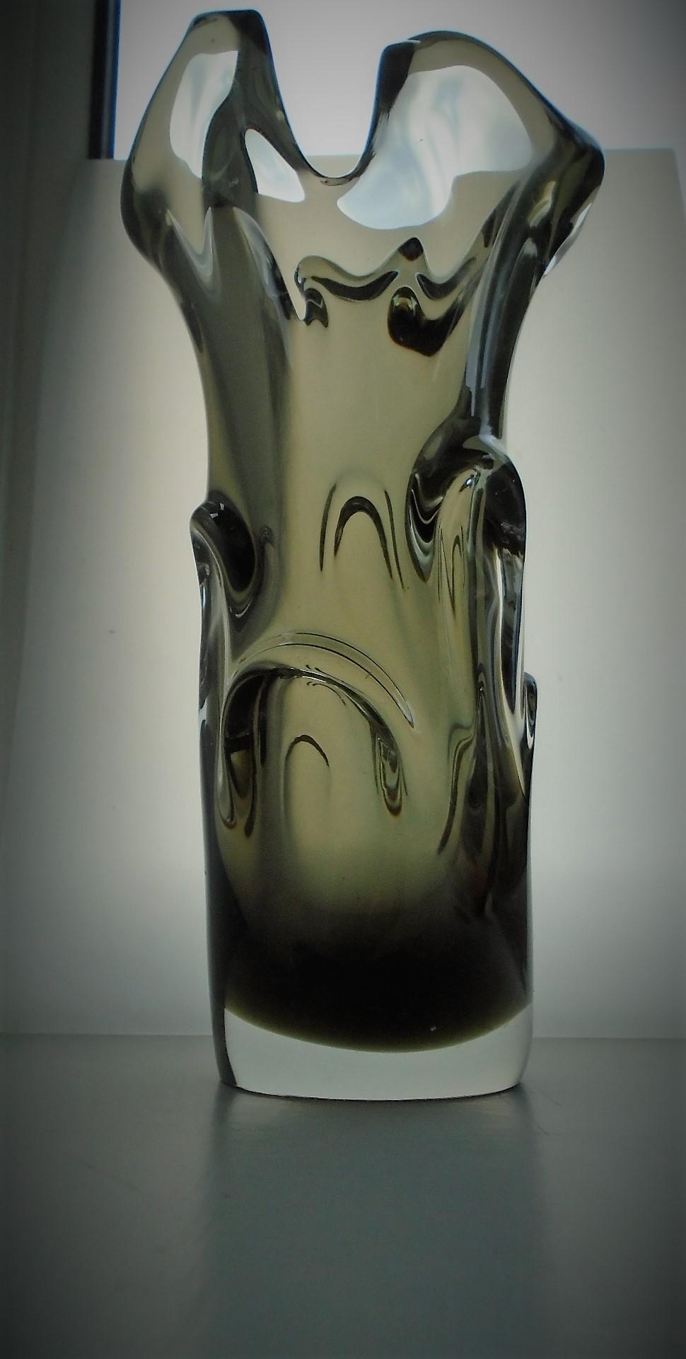 60s vintage Jan Beranek Bohemian Czech Skrdlovice Glass Vase.