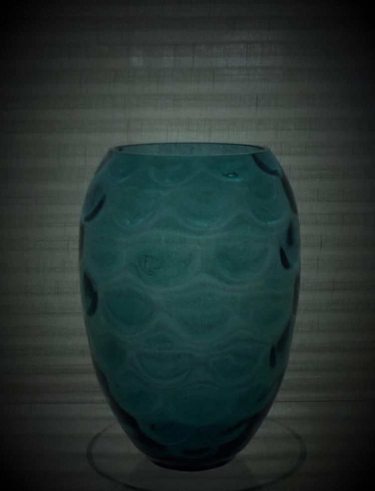Vintage Borske Sklo Prussian Blue coloured glass ovoid vase