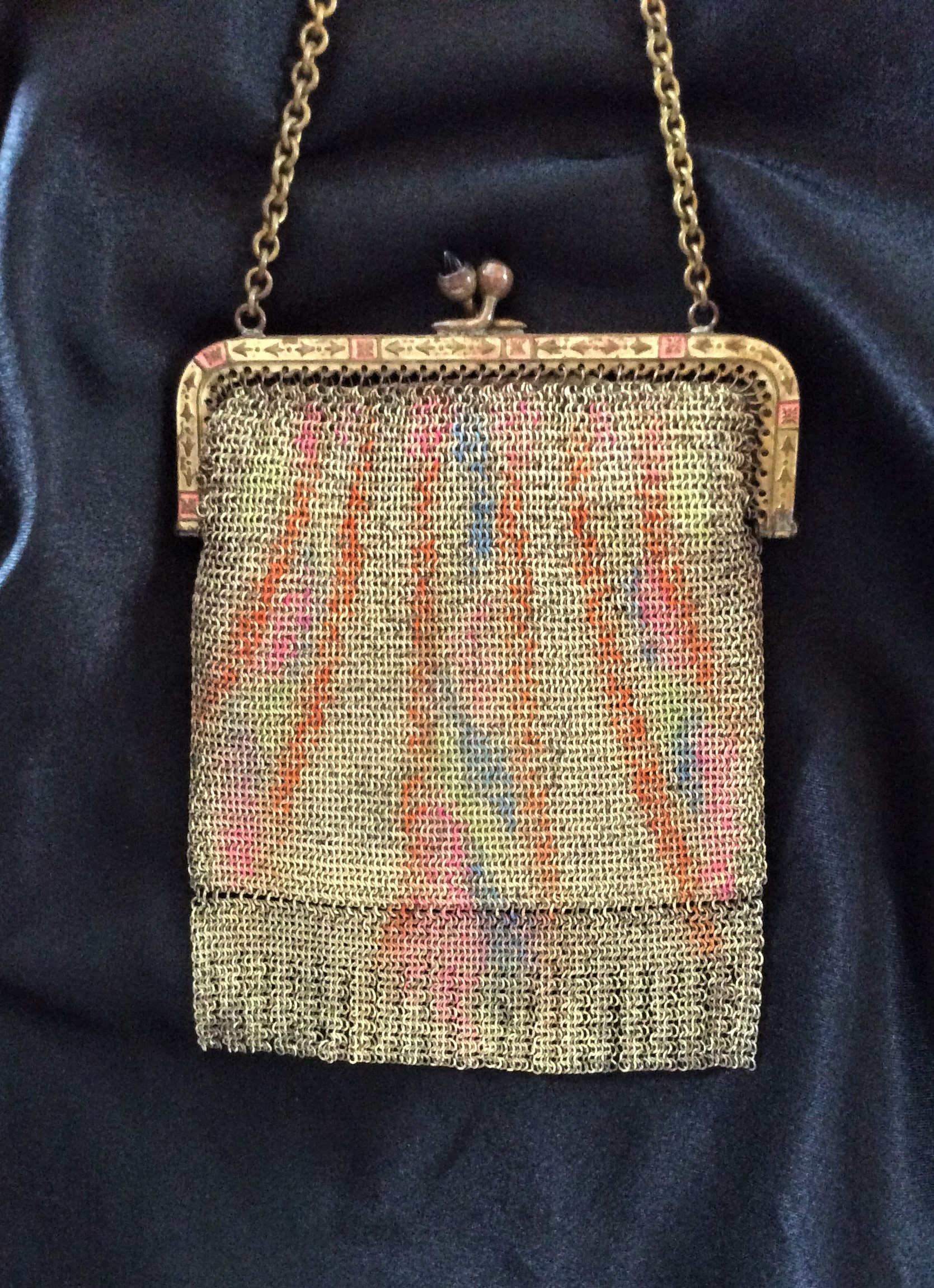 Exquisite Art Deco Fine Mesh Purse  Made in Germany                                                Size 4 inches x 3.6 inches includes frame not clasp.      Chain 12 inches long.     Film/Theatre Prop
