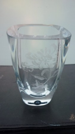 Swedish Strombergshyttan clear crystal engraved glass Vase