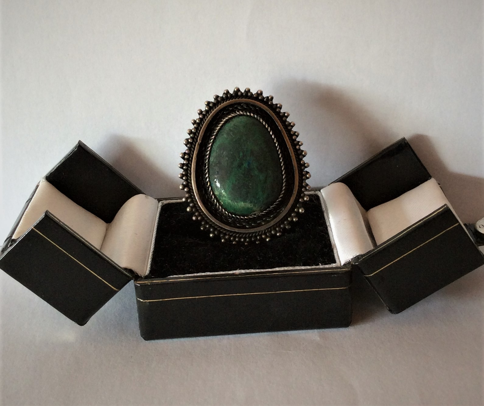 Vintage Sterling Silver and Chrysocolla Stone Pendant/Brooch