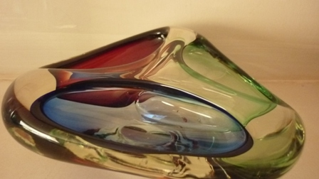 Murano triangular shape three section three colours bowl