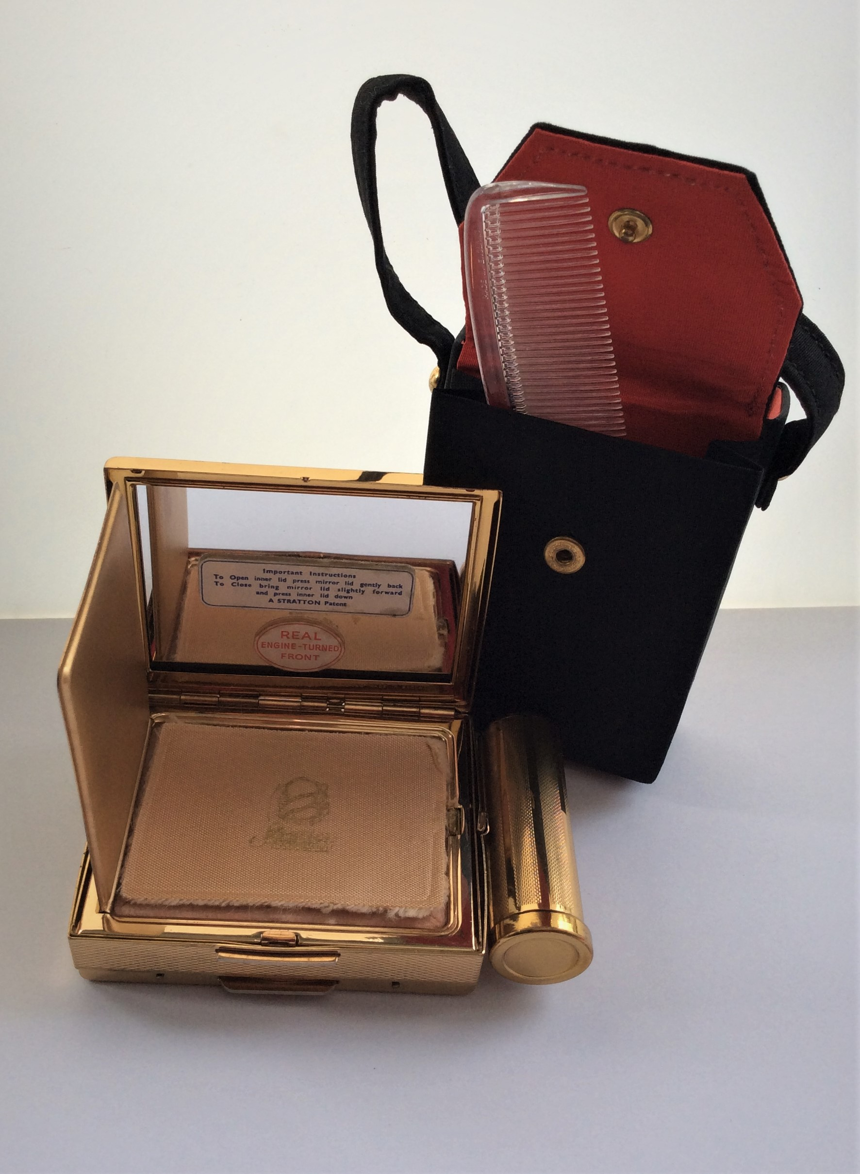 STRATTON 50's Unused Vintage Gold Tone Combination Vanity Compact in Black Silk Case