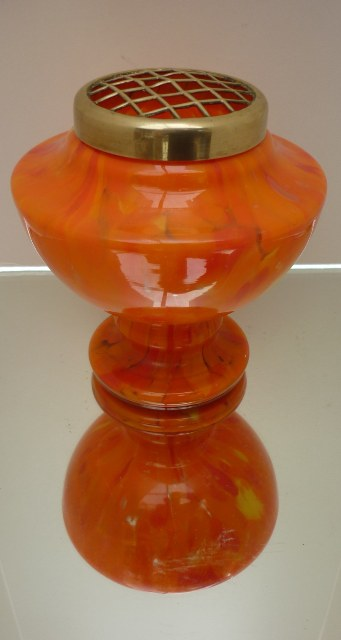 A Czech 1920s orange with yellow art deco glass pedestal vase