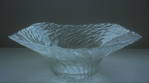 80s vintage large Scandinavian pressed Glass Bowl.