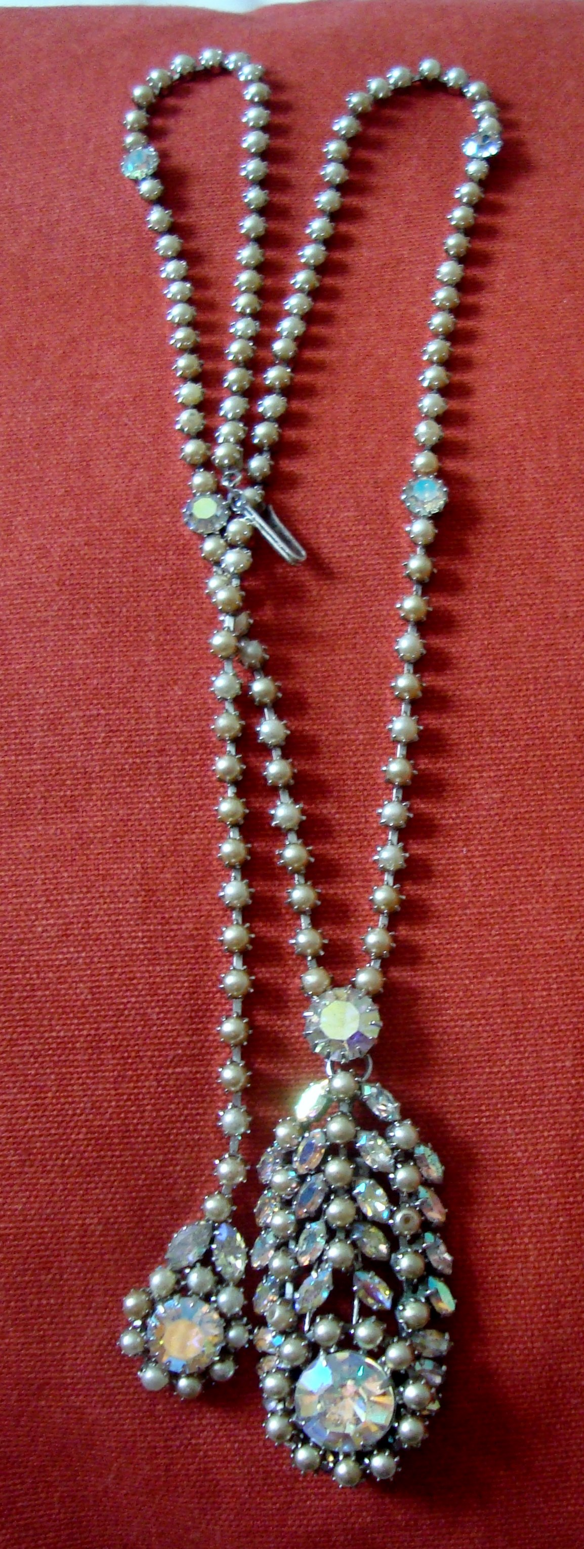 1950's Glamour Designer Vendome long AB Crystal and faux Pearl Necklace