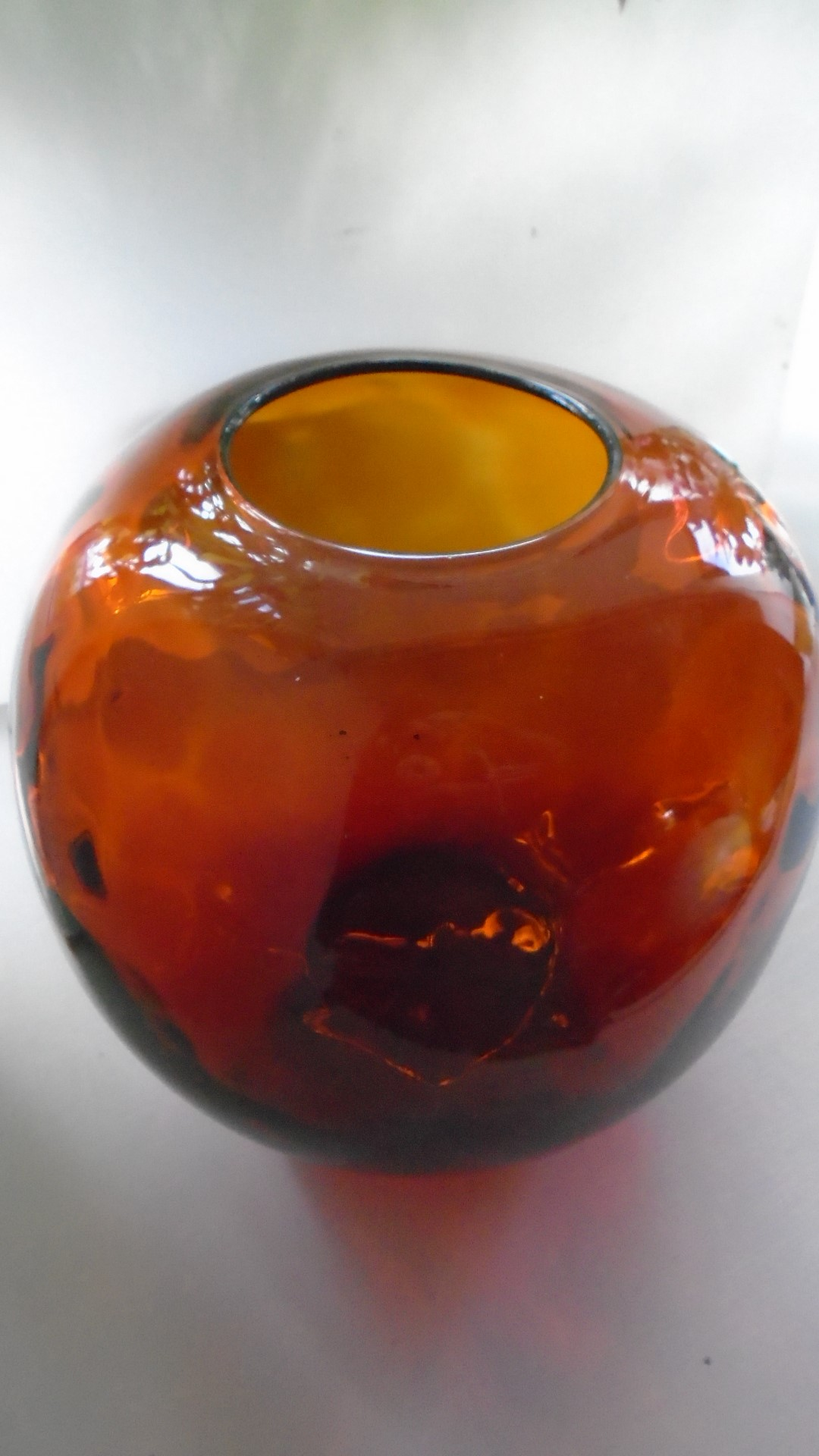 Large mid century Czech dimpled amber glass globular Vase most likely from the Borske Skol factory.