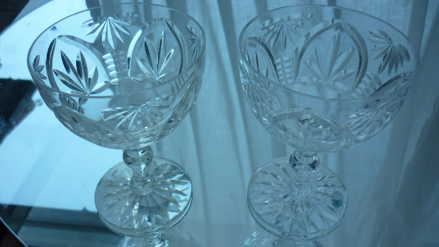 "Pair of Webb Corbett Crystal ""Gothic Pattern""  Champagne Bowls"