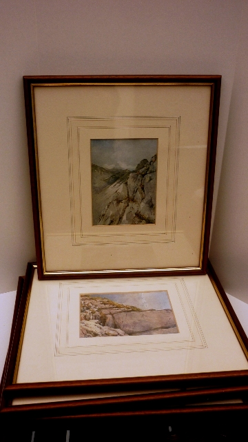 A set of 6 framed Alpine Scene Watercolour Prints by G. Flemwell. (1865-1928)