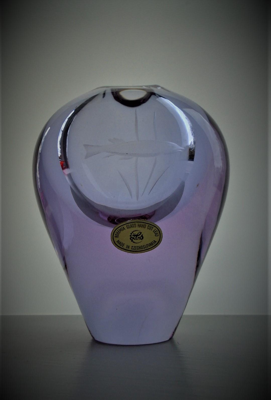 Stunning 60s vintage Czech ZBS Sklo Union Glass Vase designed by Miroslav Klinger