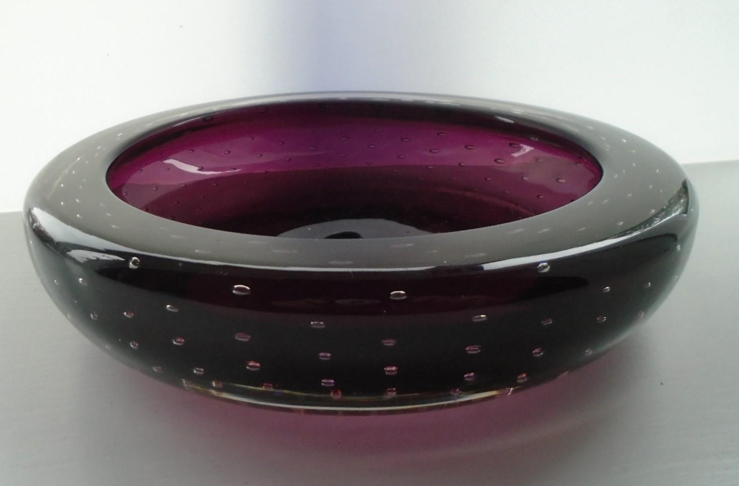 Vintage Whitefriars Bowl in the Aubergine colourway pattern 9099