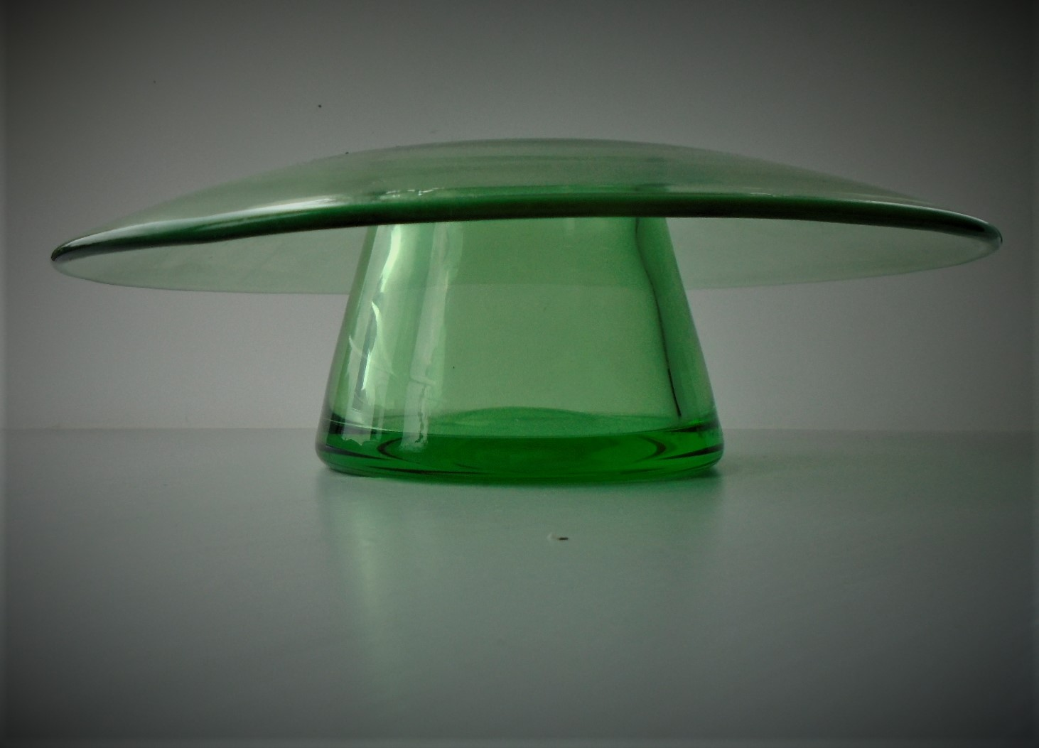 1930s Stevens & Williams green glass posy vase.