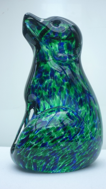 Ronald Stennett-Wilson Wedgwood speckled Blue and Green Glass Puppy