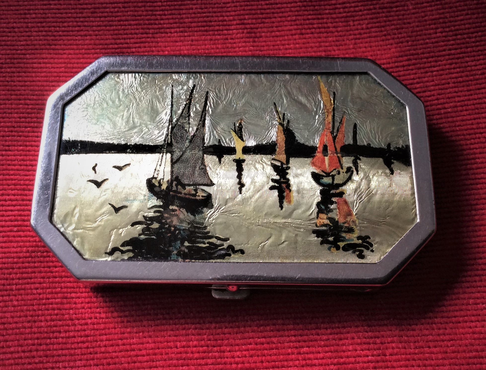 Art Deco Octagonal Metallic Foiled Vanity Compact with Sailing Scene on Reverse Painted celluloid
