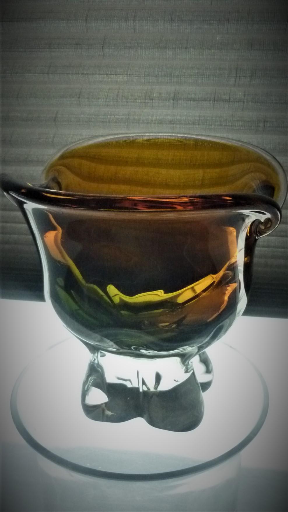 1960s vintage Czech green and amber glass vase by maker Chribska and probably designed by Josef Hospodka.