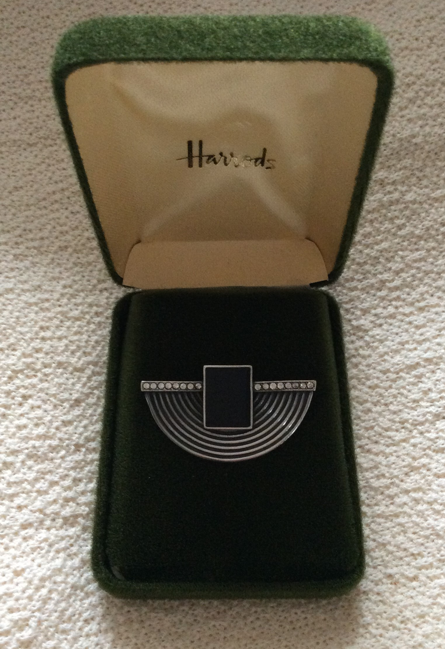 : Stunning Vintage Art Deco Style Harrods London  Sterling Silver&Crystal Rhinestone Brooch with box
