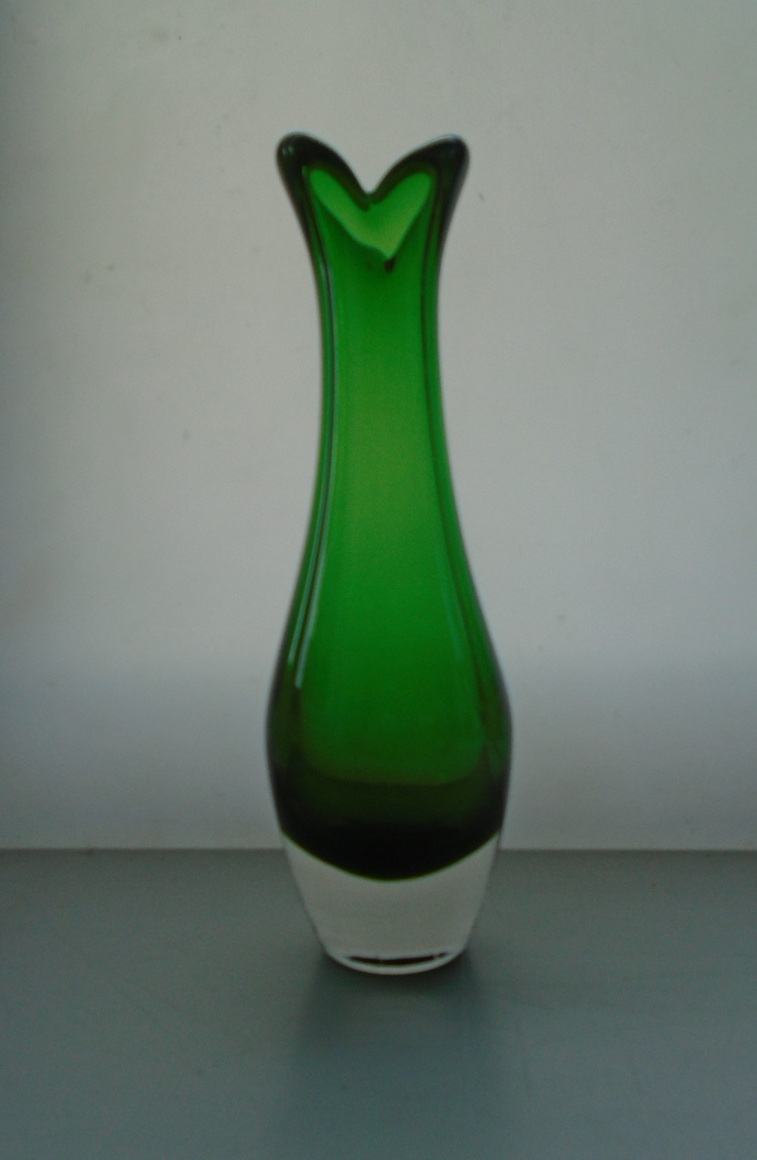 Fine example of a Vintage Whitefriar Glass Beak Vase in the less seen Meadow Green Colourway. Pattern 9556 designed by Geoffrey Baxter
