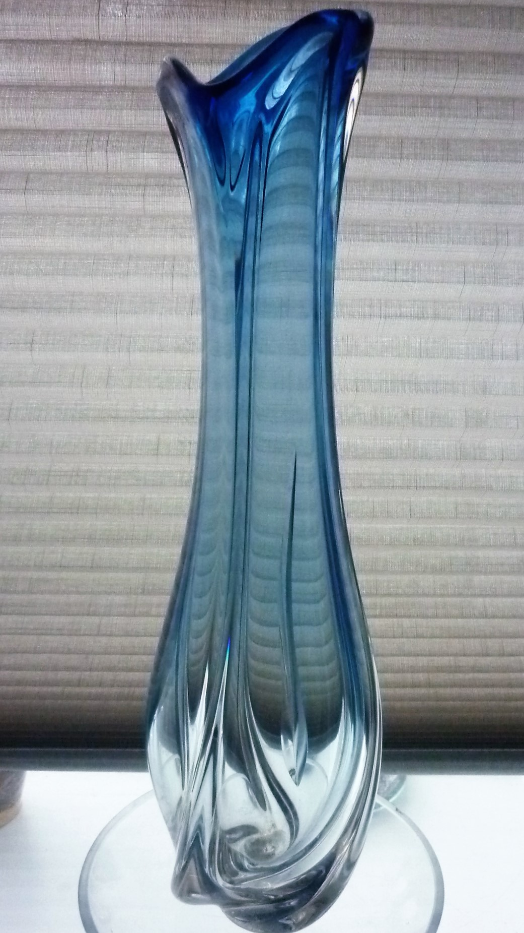 Stunning large organic form three sided twisted blue and clear crystal glass vase, designed by Charles Graffaert for Val St Lambert in the 1950s.