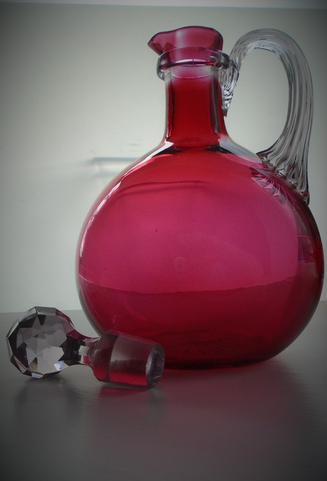 19th Century Onion Shaped Victorian Cranberry Crystal Glass Claret Jug