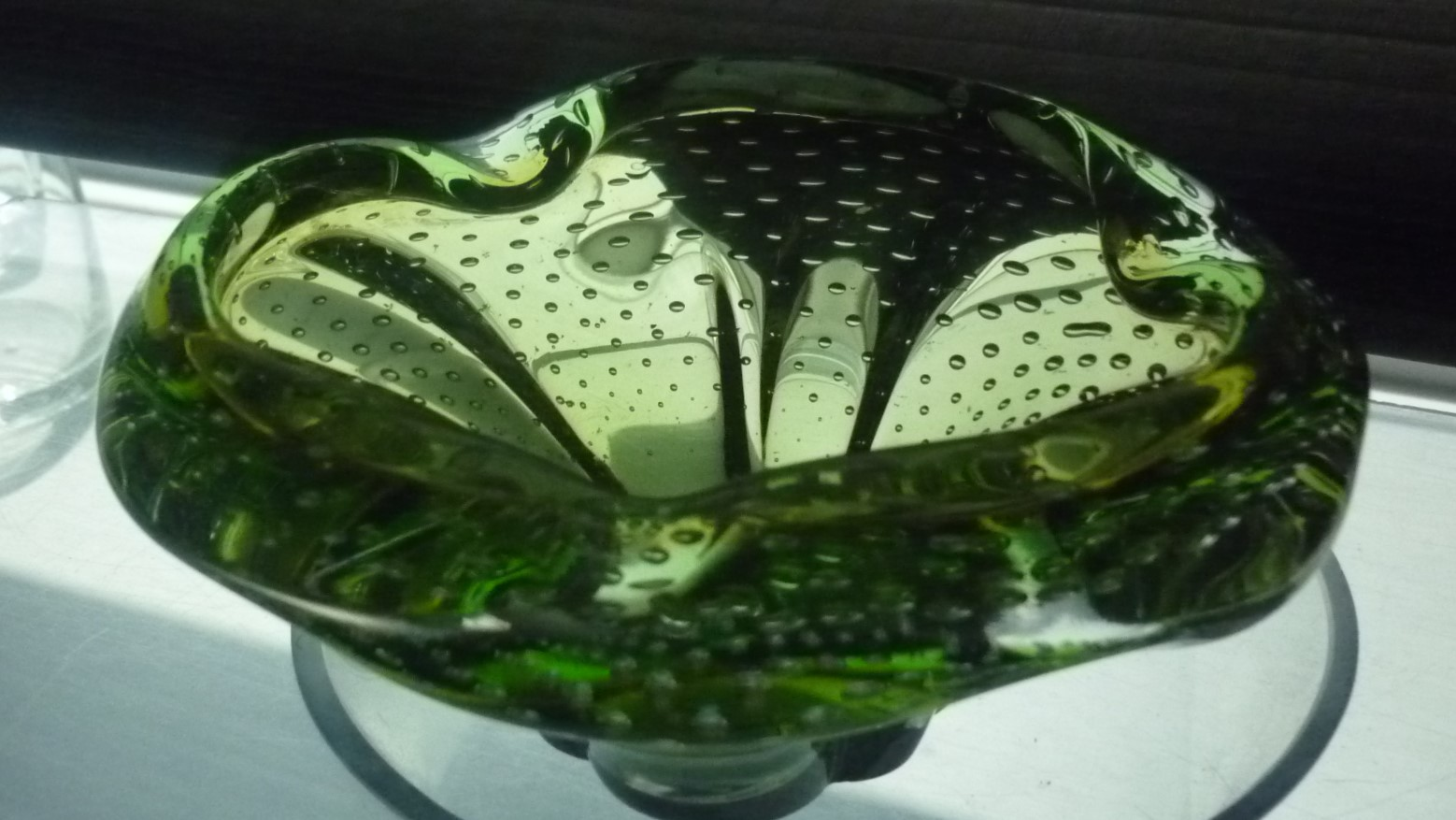 Vintage bright green bullicante  Murano Glass Bowl